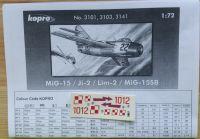MIG 15 / Ji - 2 / Lim - 2 / MIG 15SB - Měřítko: 1/72 KOVOZÁVODY PROSTĚJOV