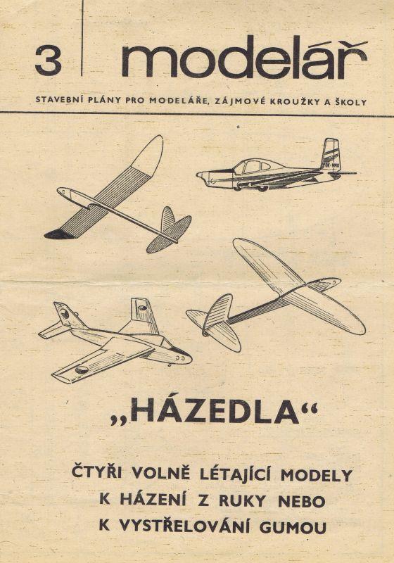 Čtyři volně létající modely k házení z ruky nebo k vystřelování gumou